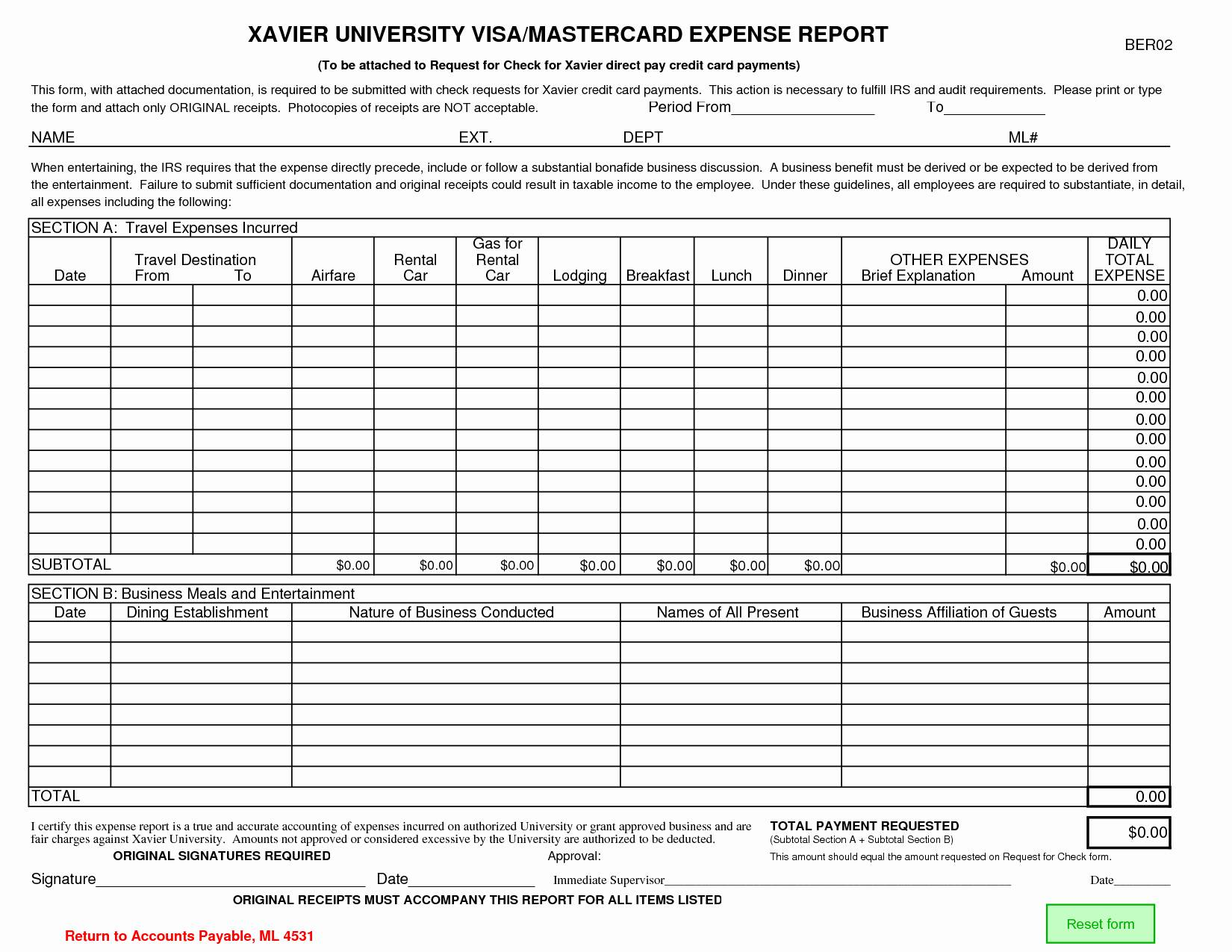 Expense Report Template and Business Credit Card Expense form Card