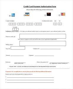 Credit Card Payment Authorization Form Template | charlotte clergy ...