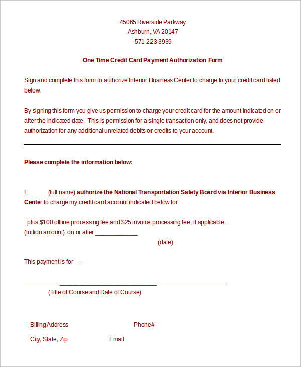 Credit card payment authorization form template charlotte clergy download one time credit card payment authorization form template reheart Gallery