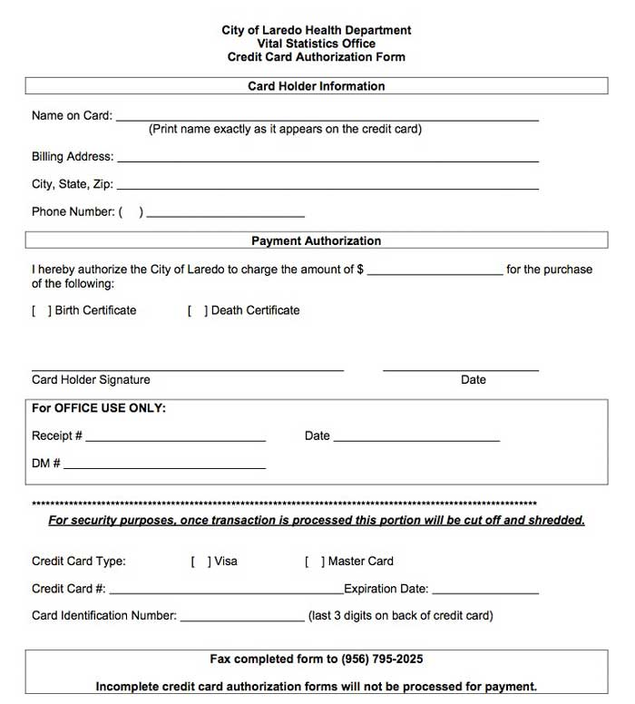 recurring credit card authorization form pdf