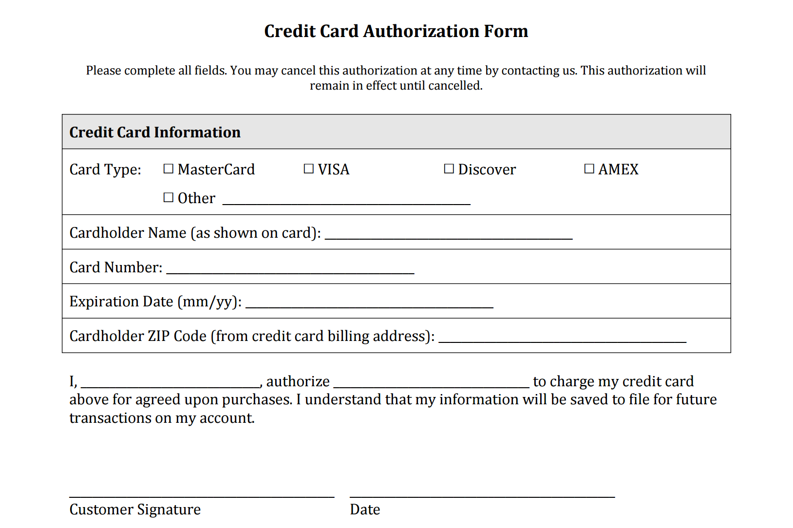 Credit Card Authorization Form Templates [Download]