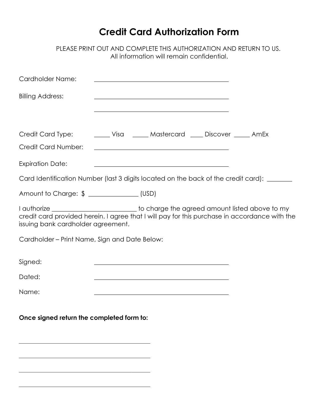 Credit card authorization forms from Service Related. Generic