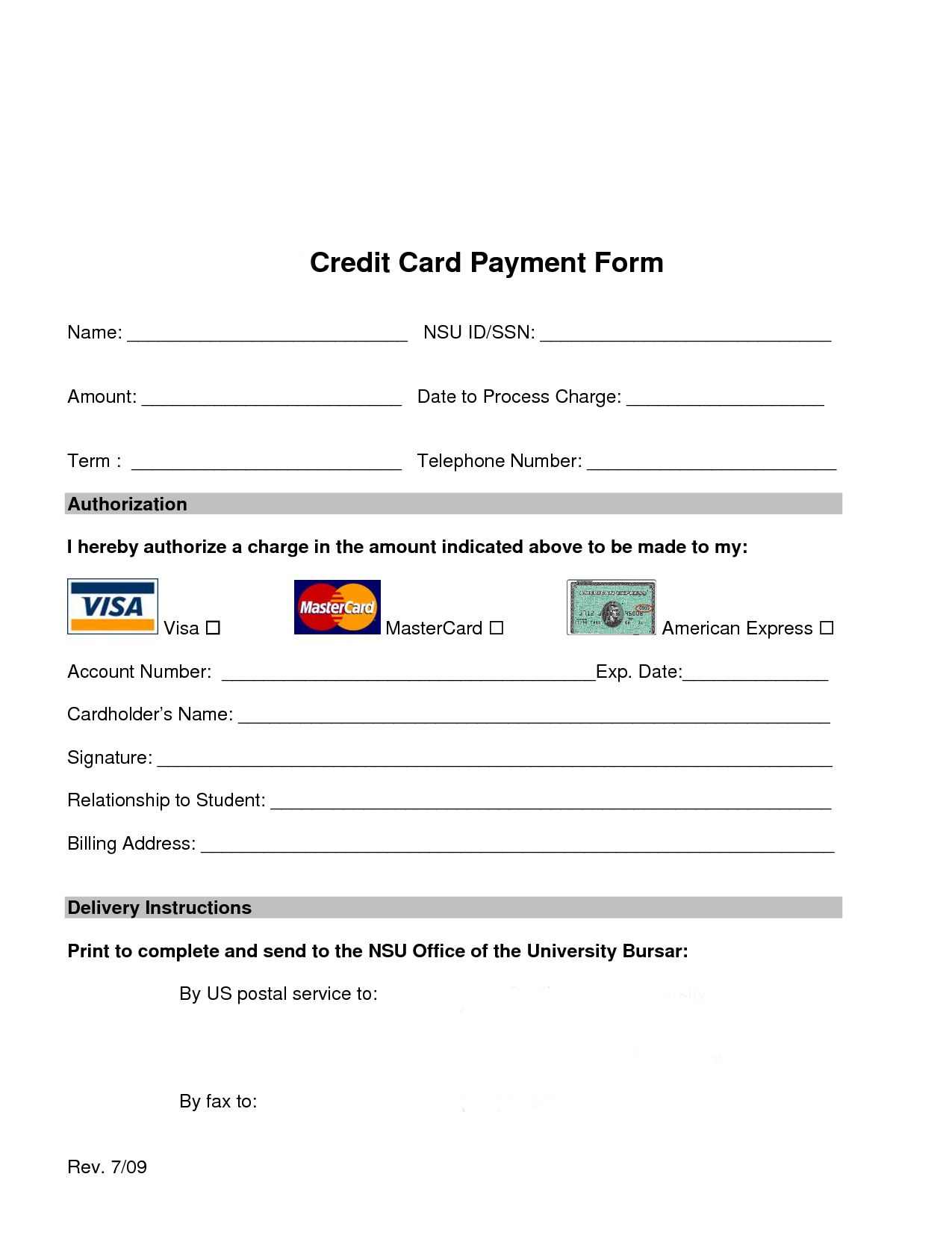 Credit Card Authorization Form | Card Not Present, CenPOS, credit