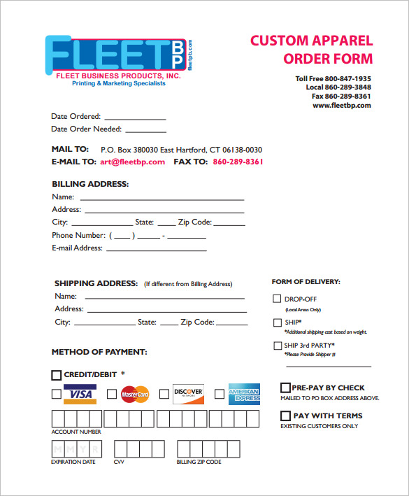 custom order form template free order form templates 30 free