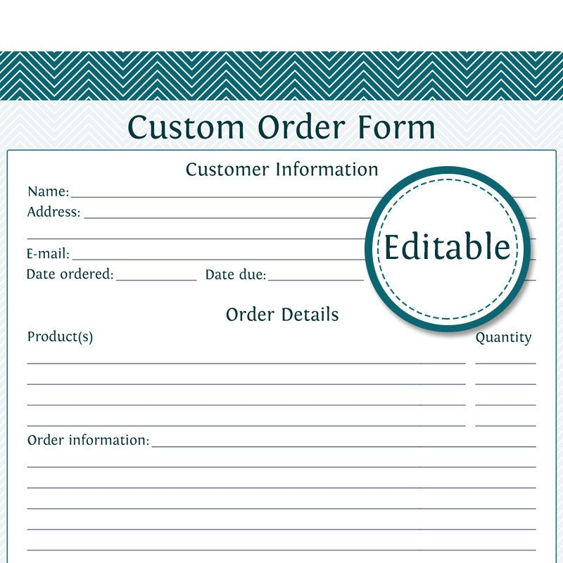 free printable order form templates printable customizable order