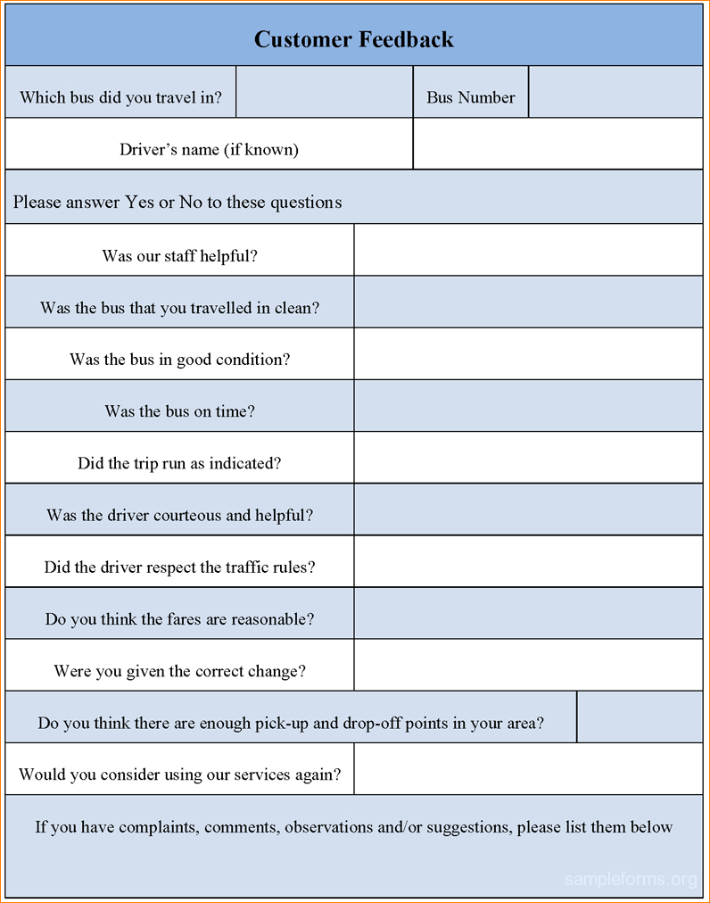 Feedback Form Template Word Zoroblaszczakco within Customer
