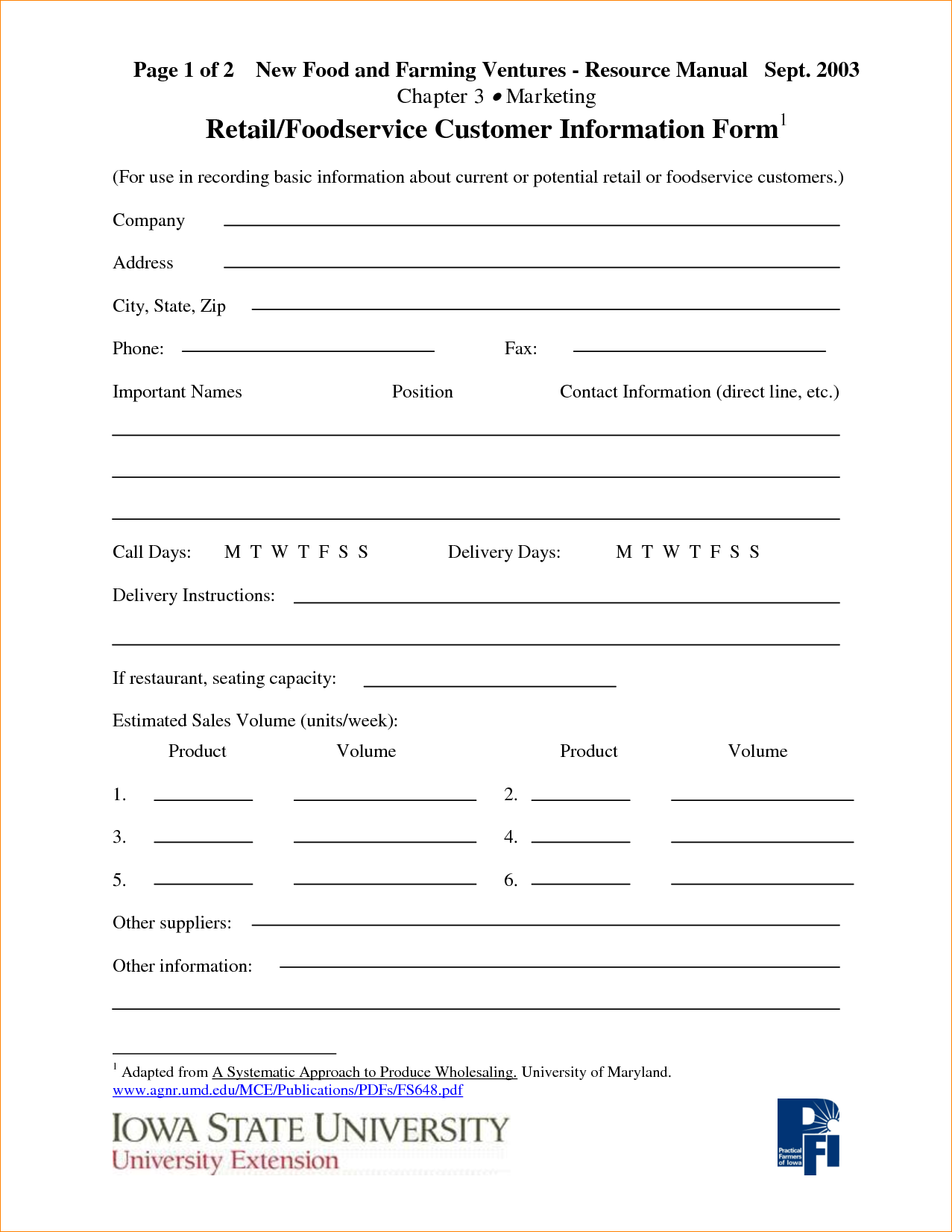 Customer information form template charlotte clergy for Update contact information form template