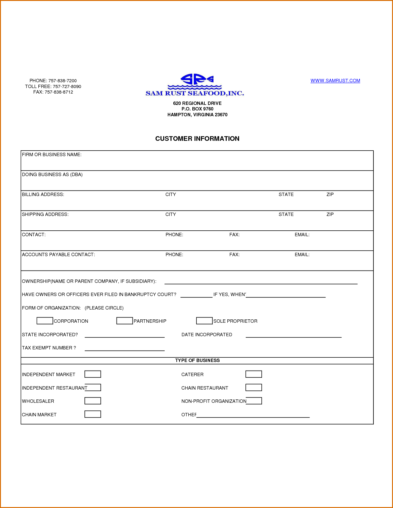 customer information form template charlotte clergy coalition