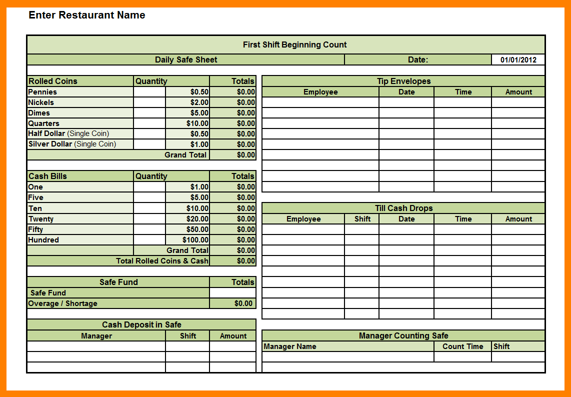 Daily Cash Sheet Template Excel Daily Log Templates