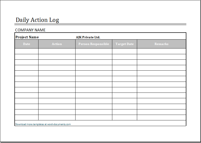 Sample Daily Log | Daily Log Template Charlotte Clergy Coalition