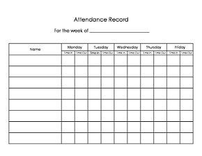 Daycare sign in/sign out sheet. Easy way to keep track of