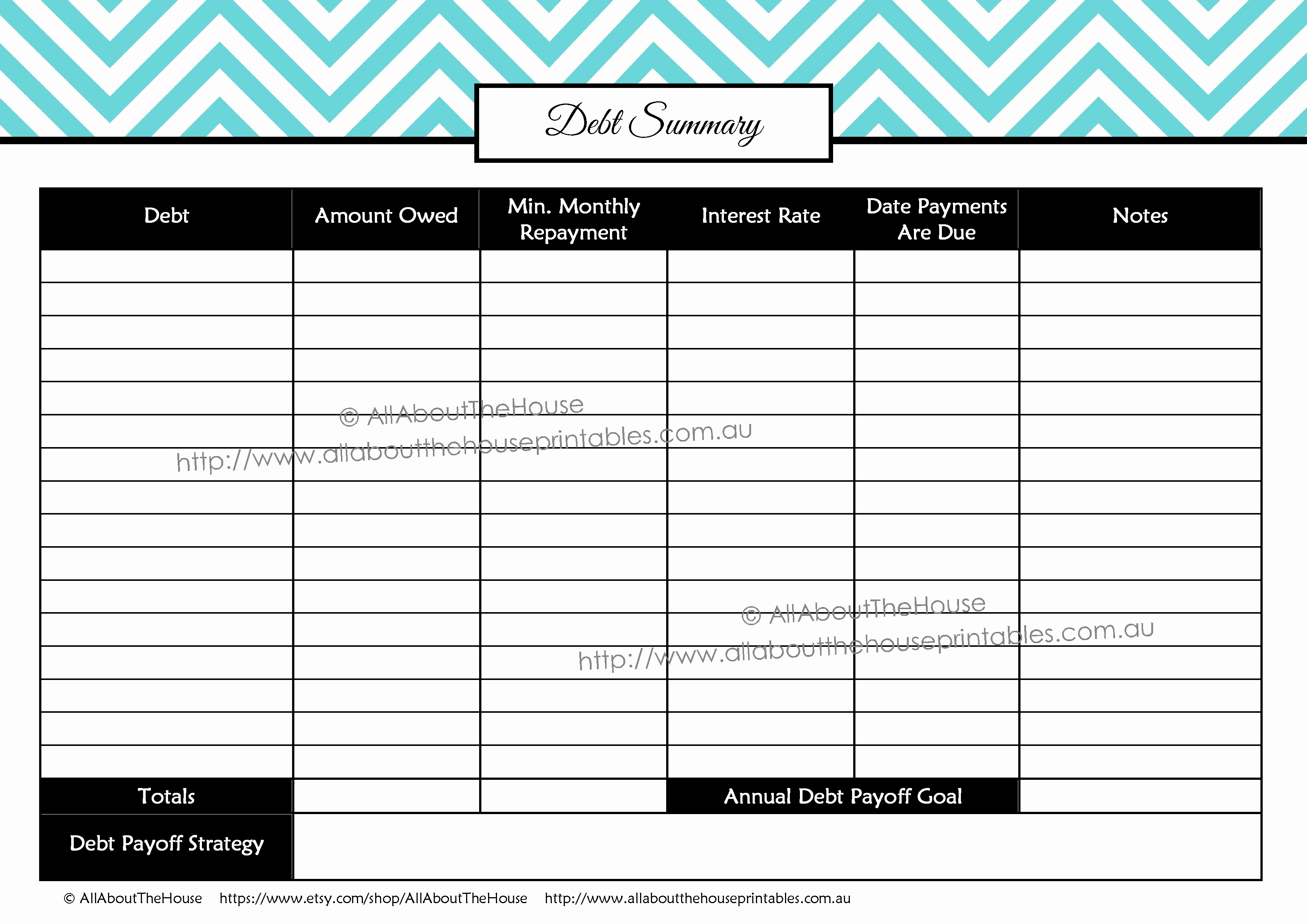 Debt Payment Plan Printable by aRodgersDesigns on Etsy Debt Free