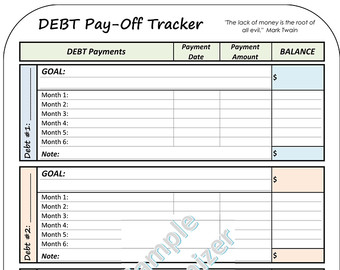 Debt management summary printable chevron editable money