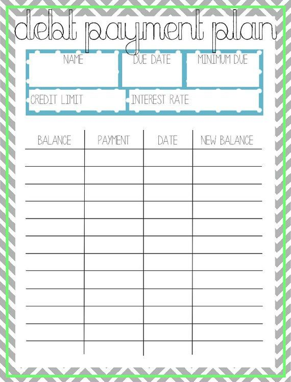 debt payment plan template   Gecce.tackletarts.co