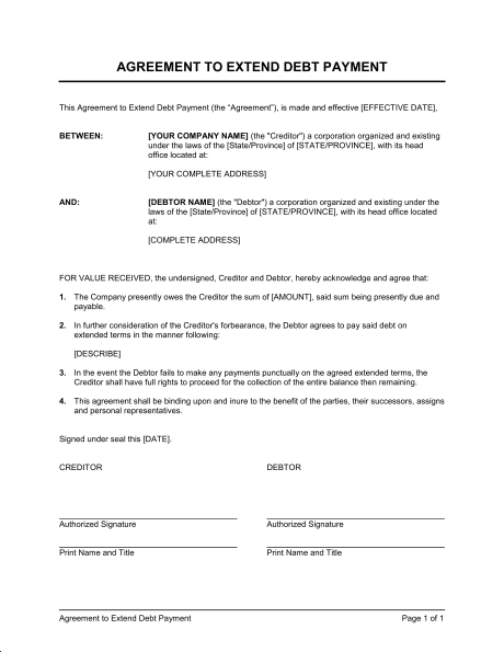 debt payment plan agreement template payment terms agreement