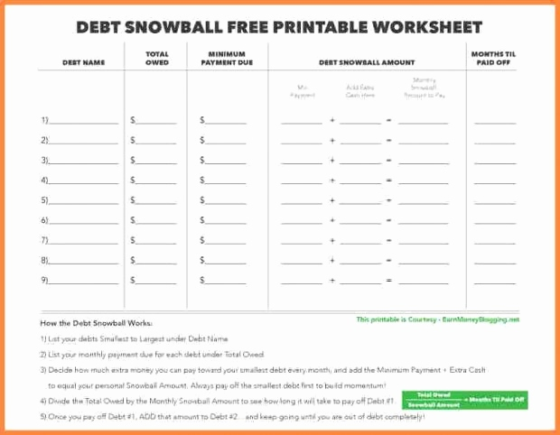 Debt Snowball Form Charlotte Clergy Coalition