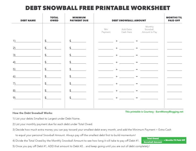 dave ramsey debt snowball worksheet debt snowball free printable