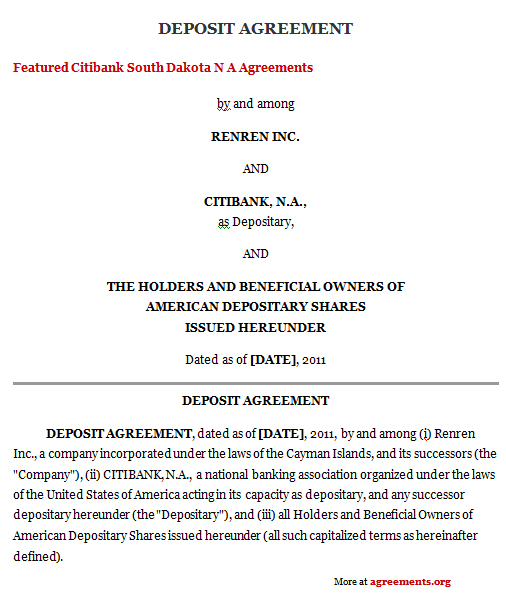 Deposit Agreement Contract Charlotte Clergy Coalition