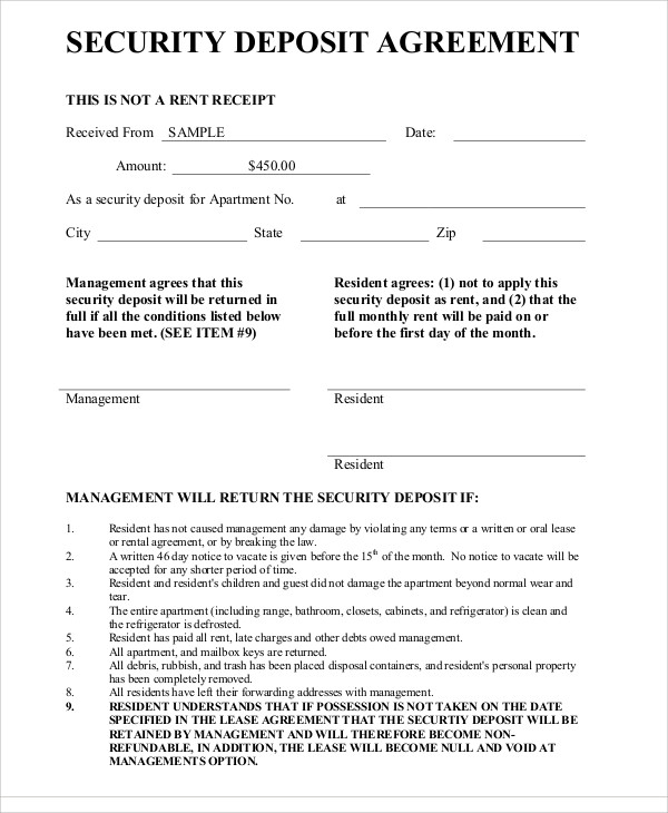 Deposit Agreement Templates   17+ Free Sample, Example Format