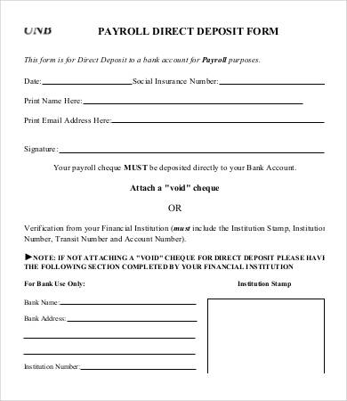 Direct Deposit Form Template   9+ Free PDF Documents Download