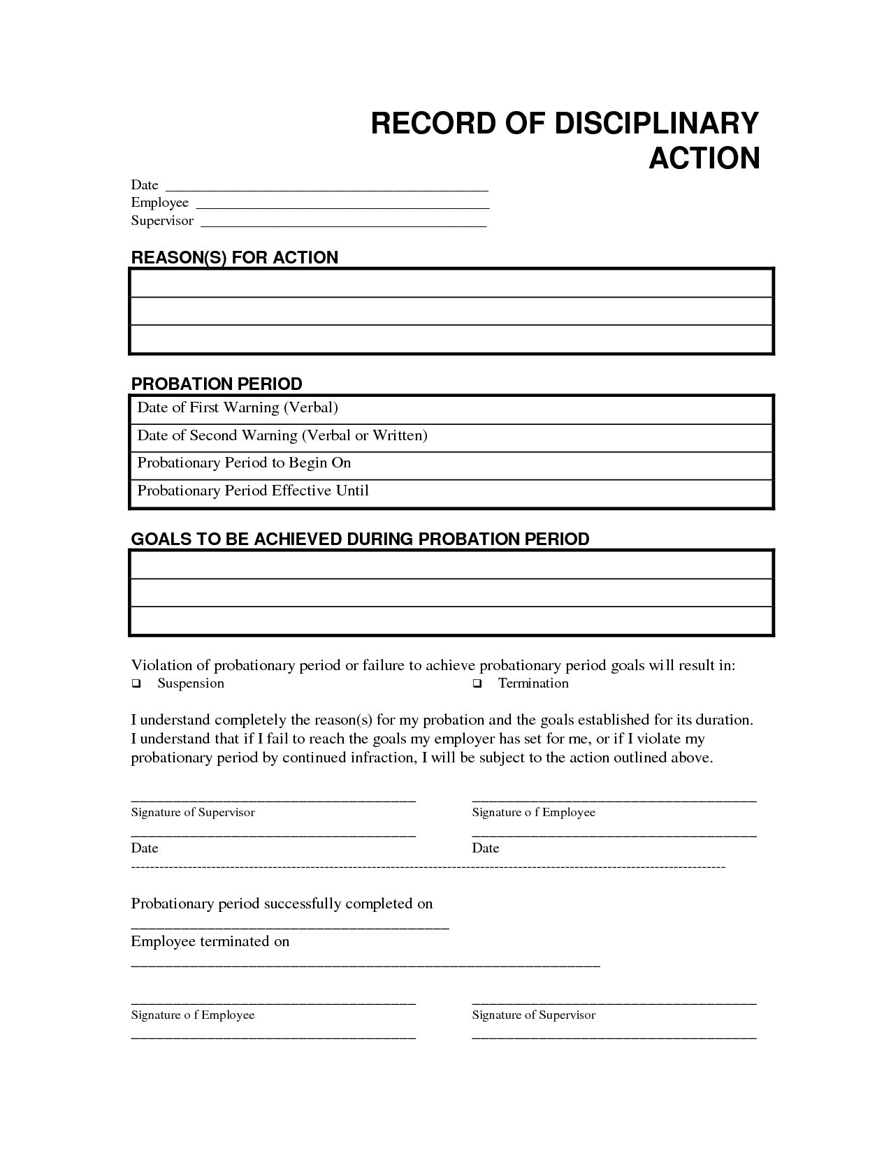 employee disciplinary form template disciplinary forms for