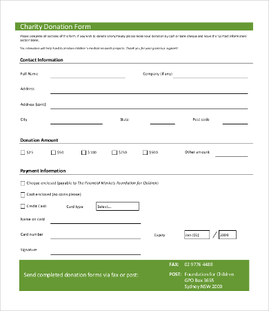 Donation Form: A donation form is a written document that is used
