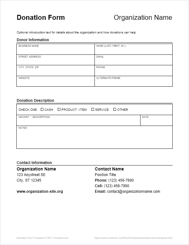 Donation Form Template for Word
