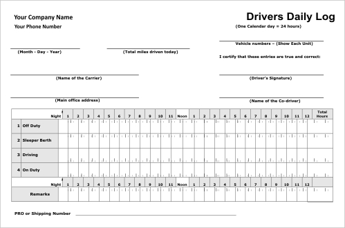 Drivers Daily Log Template