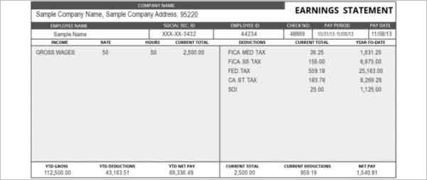 Attractive Pay Stub Or Earning Statement Template Sample : vlashed