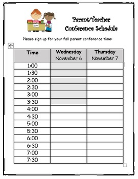 Conference Sign Up Sheet   Editable! by Cristin Elmi | TpT