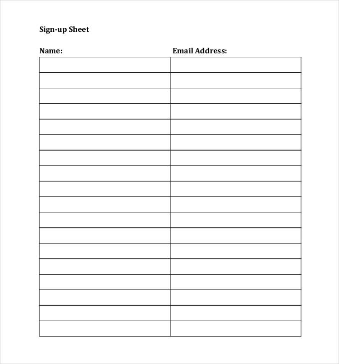 Sign Up Sheets   58+ Free Word, Excel, PDF Documents Download