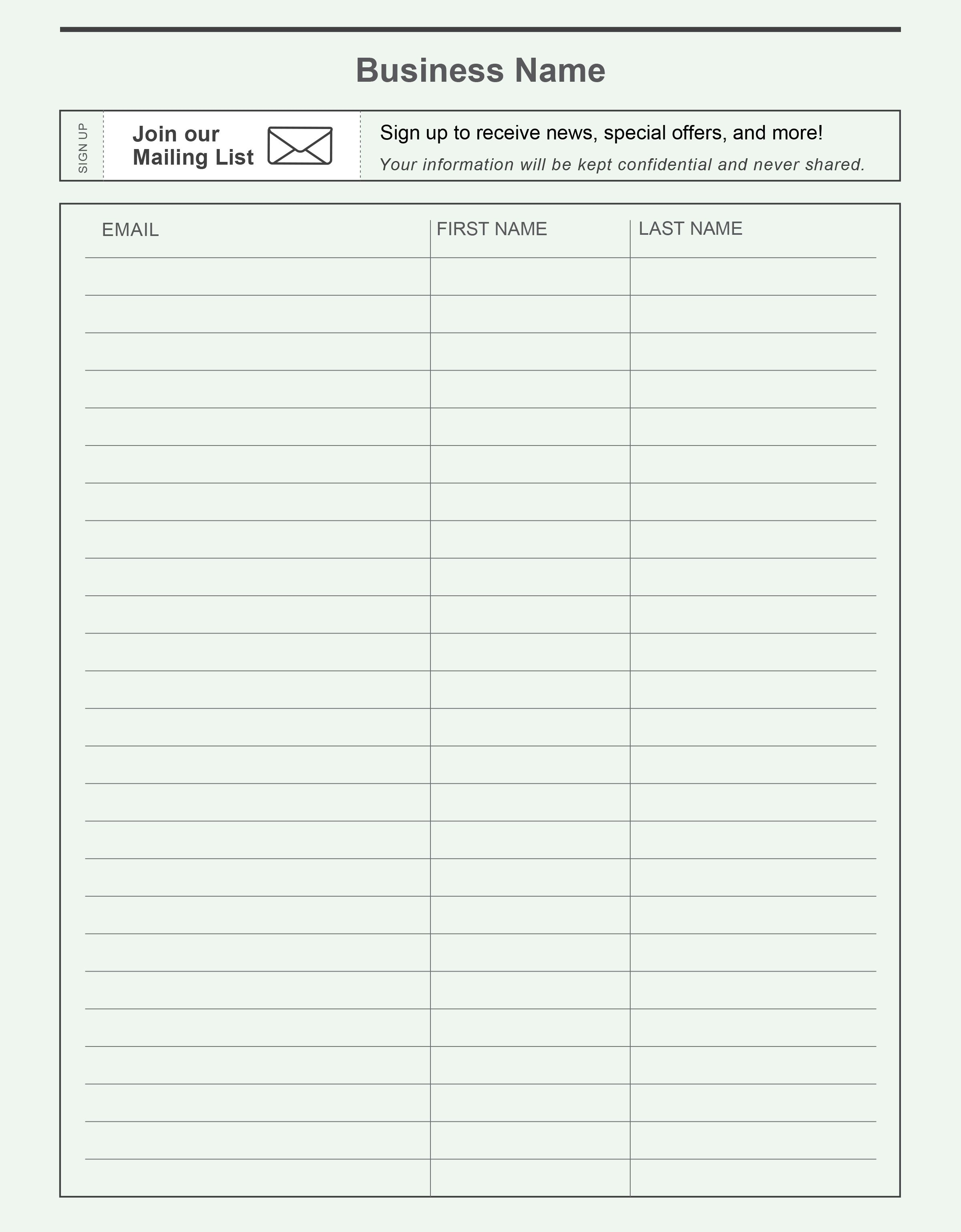Email Sign Up Sheet Template Word Email Sign Up Sheet Template