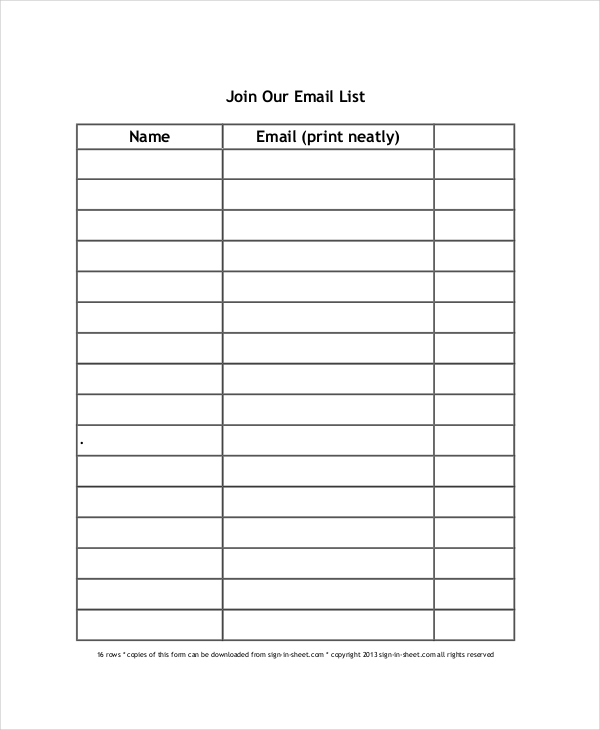 email sign up sheet template   28 images   email sign up sheet