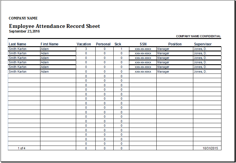 employee attendance record template   Gecce.tackletarts.co