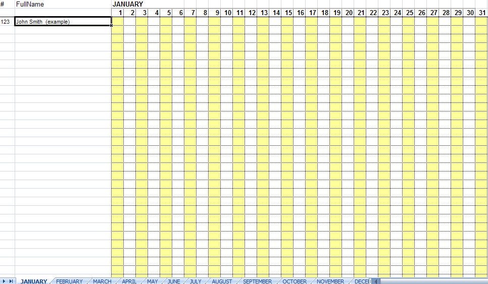 Employee Attendance Sheet & Daily Weekly Monthly Calendar 2017