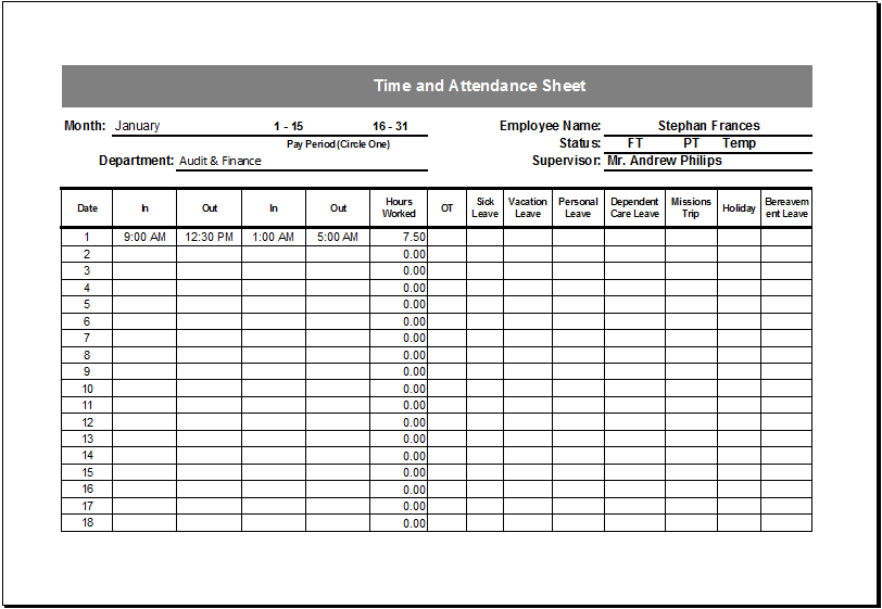 attendance sheet template excel for employee   Gecce.tackletarts.co