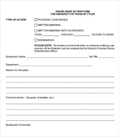 employee disciplinary form template employee discipline form