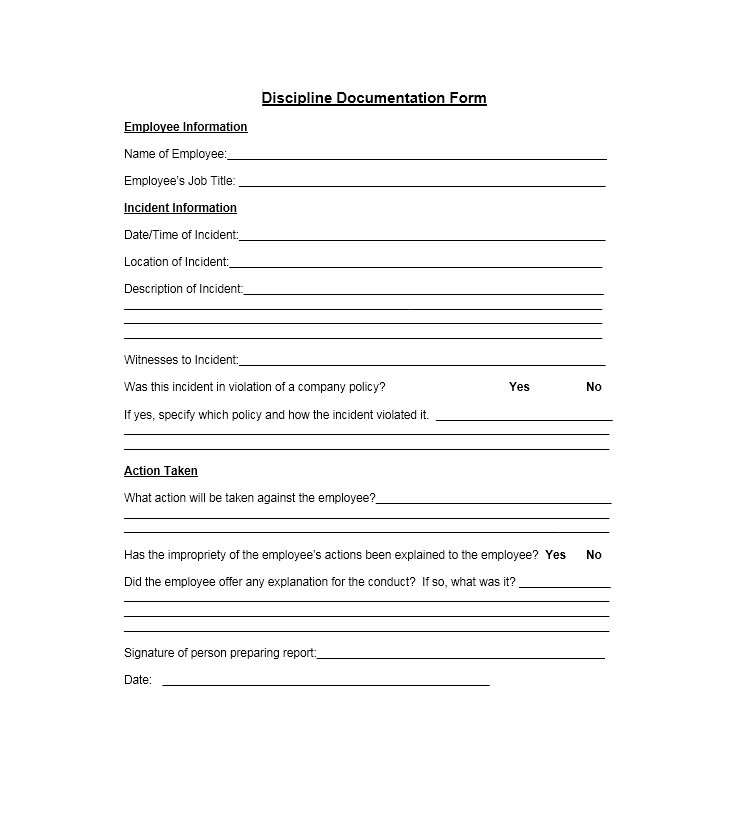 employee discipline form template 40 employee disciplinary action