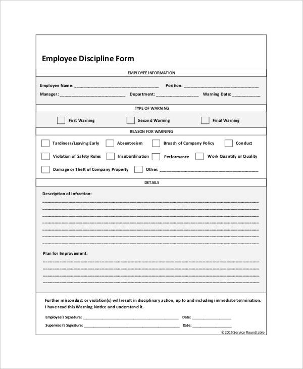 Employee Discipline Form   6+ Free Word, PDF Documents Download