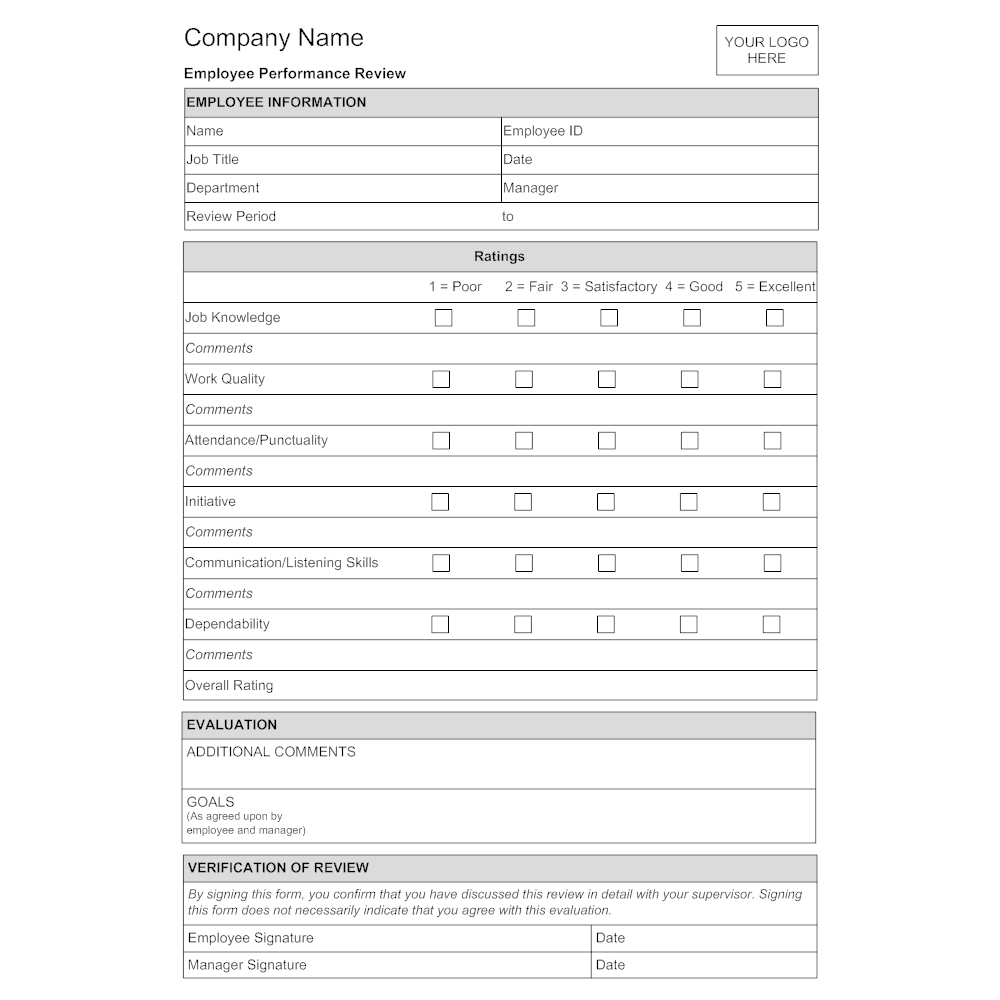 Employee Evaluation Form Template Charlotte Clergy Coalition