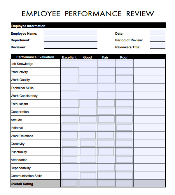 free employee performance review form template   Tier.brianhenry.co