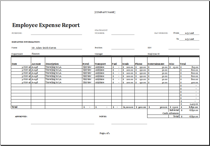 Excel Employee Expense Report Templates | Excel Templates