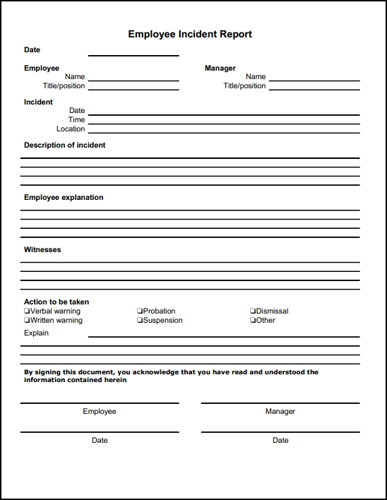 Employee Incident Report Form Template