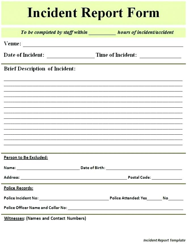 Incident Report Form Template Doc   Frsc.us