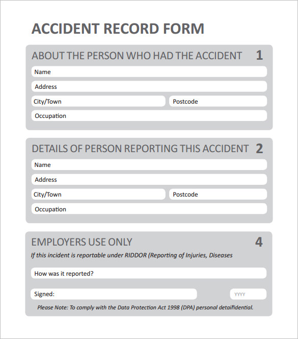 employee accident report form template free blank employee