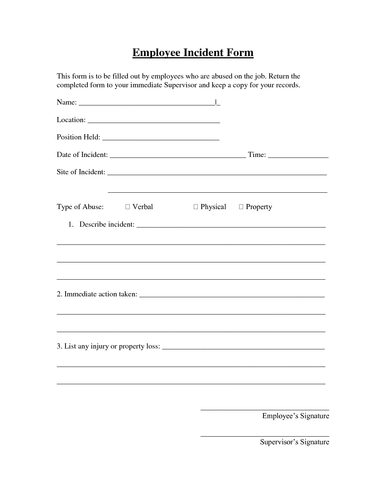 Employee Incident Report Template Free 0 – isipingo secondary