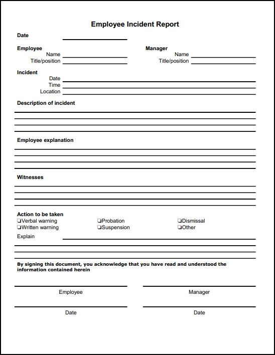 employee incident report template   Gecce.tackletarts.co