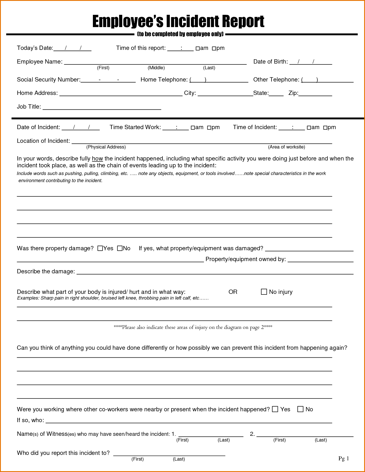 hr incident report form template 12 employee incident report