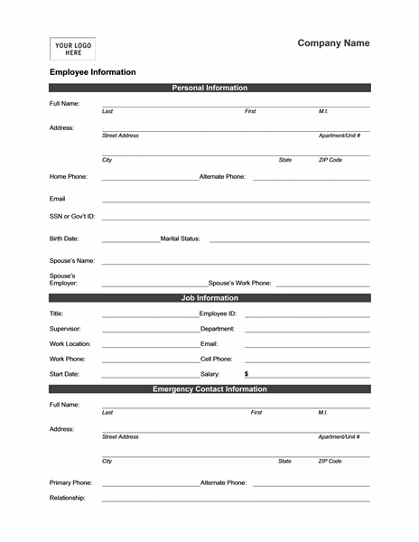 employee information form template word employee information