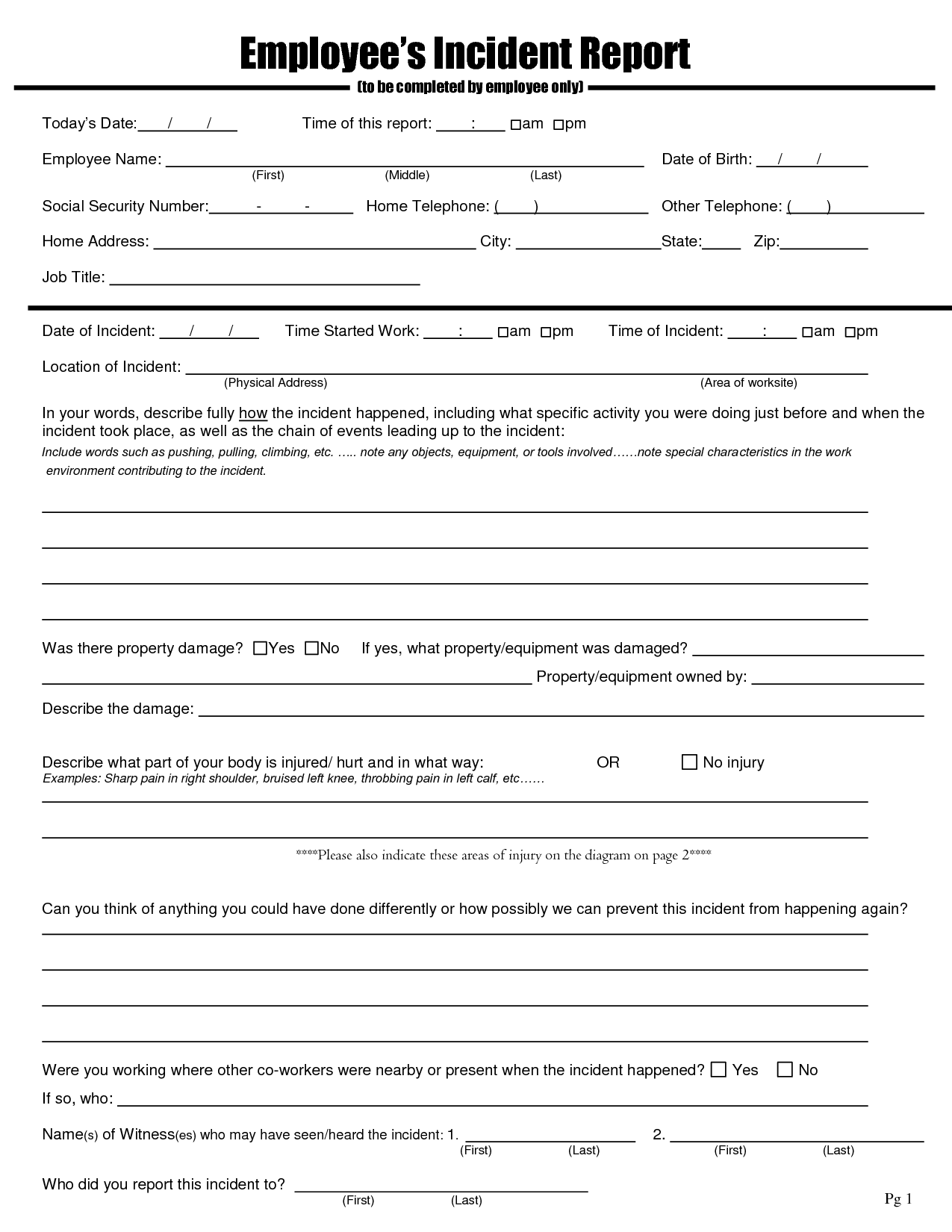 employee injury report form template